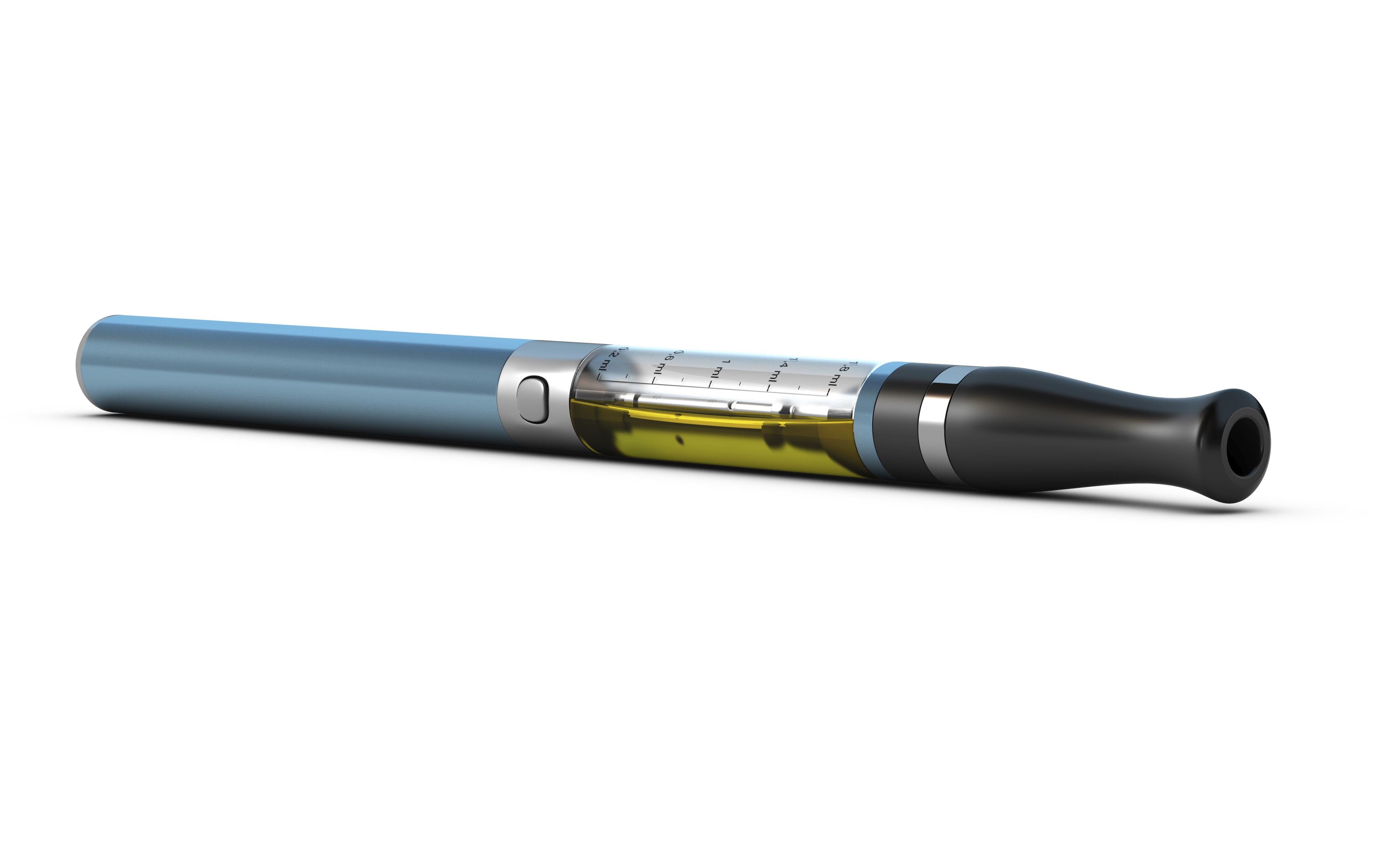 Une cigarette électronique bleue