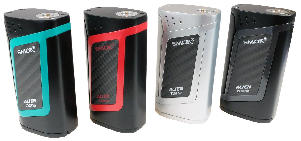 Box Alien 220 W in de 4 beschikbare kleuren zwart, zilver, zilver, blauw en rood